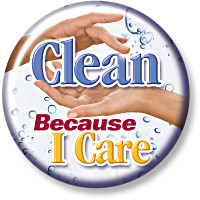 Clean Because I Care Button