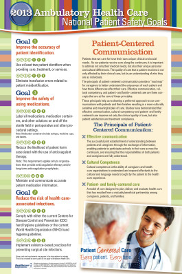 ... Commission's 2013 National Patient Safety Goals with our Poster
