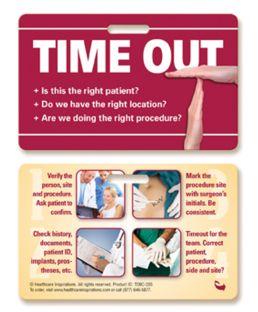 Operating Room Time Out Board