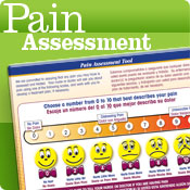 Pain assessment tools, featuring pain scale chart.