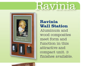 Ravinia Wall Station.  Aluminum and wood composites meet form and function in this attractive and compact unit.